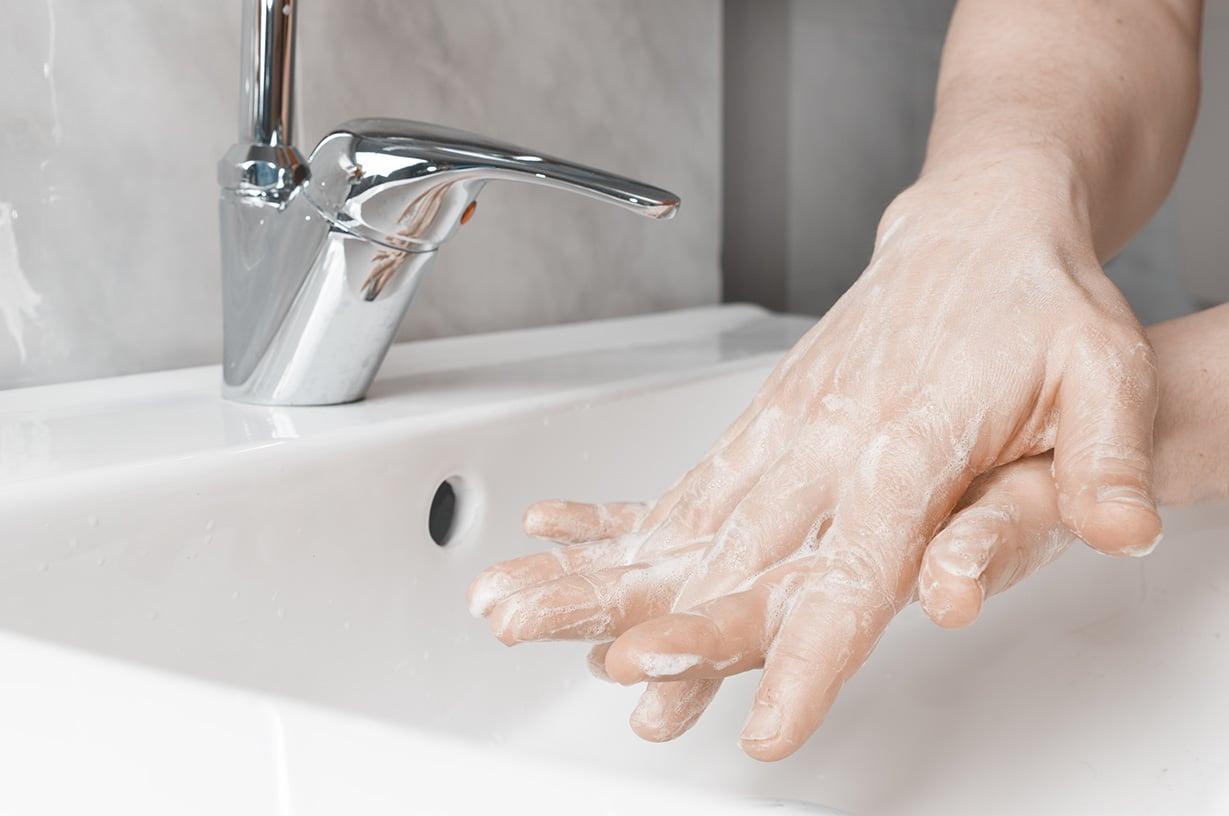 handwashing with interlocked fingers